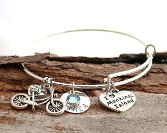 Mackinac Island Personalized Adjustable Wire Bangle Bracelet