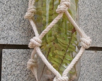 Free shipping Today only - small macrame plant hanger / candle  / bottle holder / rope /natural plant hanger / simple plant holder