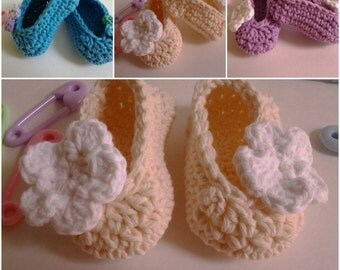 Baby Girl Booties/ Ballet Slippers - 100% Cotton/ 3-6 mos./ Two-Tone/ Ivory & White / Ready to Ship