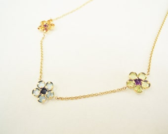 "Flower Daisy Chain Gemstone Necklace, 14 Karat Gold, 15.5"" Item #37"