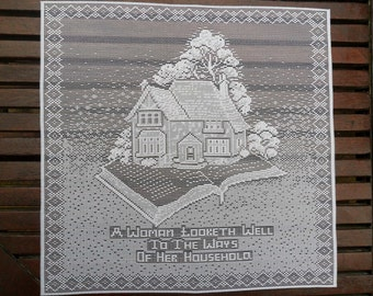 "Salvation Army Home League Women's Group Emblem, Lace Panel 12"" x 12"" (30x30cm) Produced in Nottingham, England. Circa 1985"