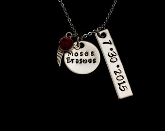 Personalized Hand Stamped Stainless Steel With Bar Necklace