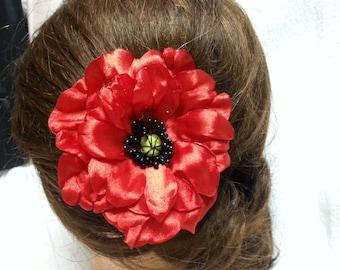 Flower, Red Poppy, hair clip, hair accessory. Wedding Hair Accessories. hair accessories