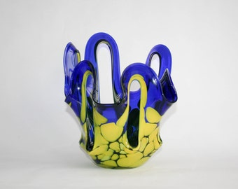 Murano Centerpiece - Blue and Yellow - Beautiful and complex handwork