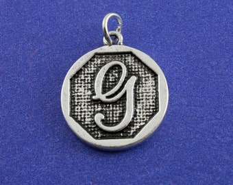 1 pcs-Initial G Charm, G Alphabet Pendant, Antiqued Silver Letter G Coin-As-K85350H-8S