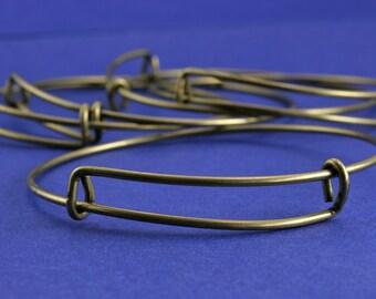 1 or 5 pcs. Adjustable Antiqued Brass Wire Bracelet, Expandable Wire Bracelet, Bronze Bracelet - AB-B60387-8S