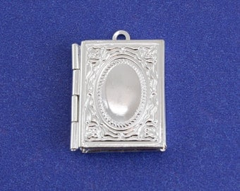 "2 pcs - Small Silver Book Locket, 26mm x 19mm( 1"" x 3/4"") Silver Plate Locket, Small Locket- SP-B60964-8S"