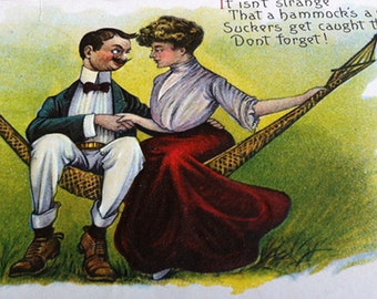 1908 Embossed Post Card, Couple on Hammock