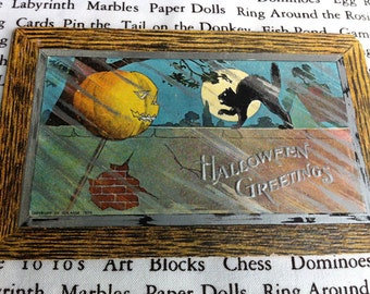 1909 Halloween Post Card, Jack-o-Lantern and Black Cat