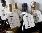Year of Firsts Wine Bottle Tags * Wedding, Bride, Bridal Shower, Bridesmaid, MOH, Calligraphy