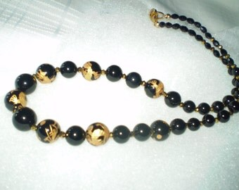 Onyx Bead Necklace with Gold Carving