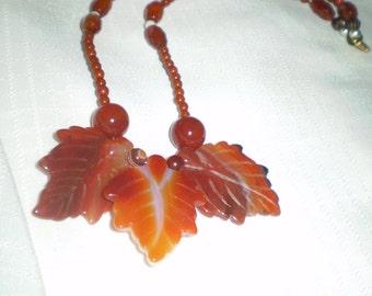 Carnelian Three Leaf Necklace