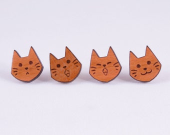 Chibi Cat Faces Stud Earrings - Hypoallergenic Titanium Earrings - Animal Lover Gift Idea - Laser Engraved Cherry Wood Studs Kitten Ear Post