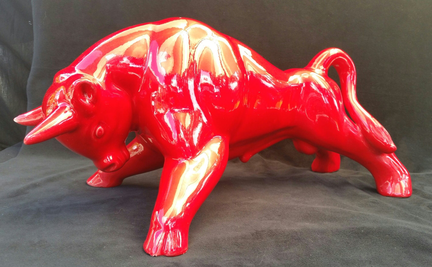 Hold for deborahmid century sculpture large red bull by