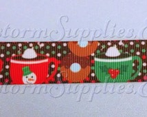 "Winter Mugs Ribbon  7/8"" Colorful Printed Grosgrain Ribbon.  5 and 10 yard Lengths"