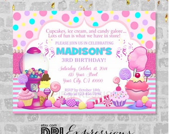 Candy Shoppe Invitation, Sweet Shoppe, Ice Cream, Candy Shop Birthday Party Invitation, Digital or Printed