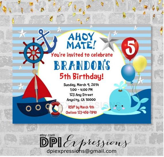 Nautical Invitation, Printable Sail Boat Nautical Theme