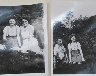 Two Small Vintage 1940s Black and White Photographs ~ A Day Out in the Country