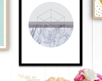 Geometric Circle Printable Art, Circle Print, Marble Print, Geometric Marble Home Decor, Marble Texture Geometric Art.