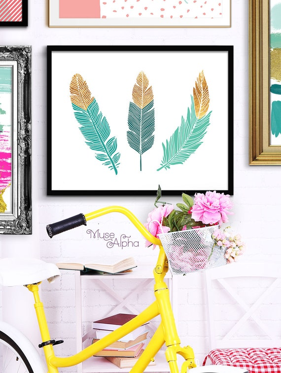 peacock teal feathers gold feather art gold wall art. Black Bedroom Furniture Sets. Home Design Ideas
