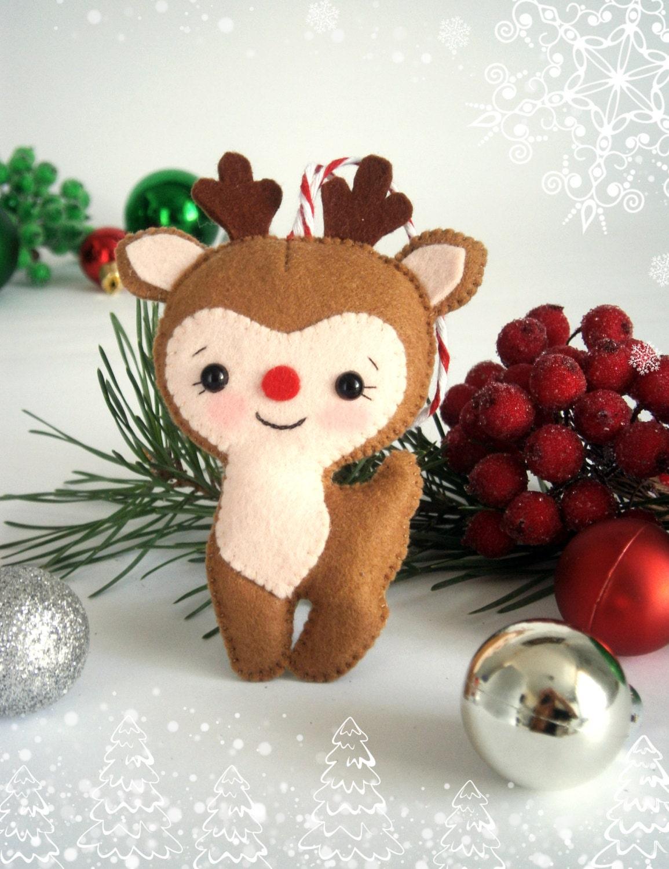 Felt Christmas ornament felt deer Reindeer Rudolph by ...