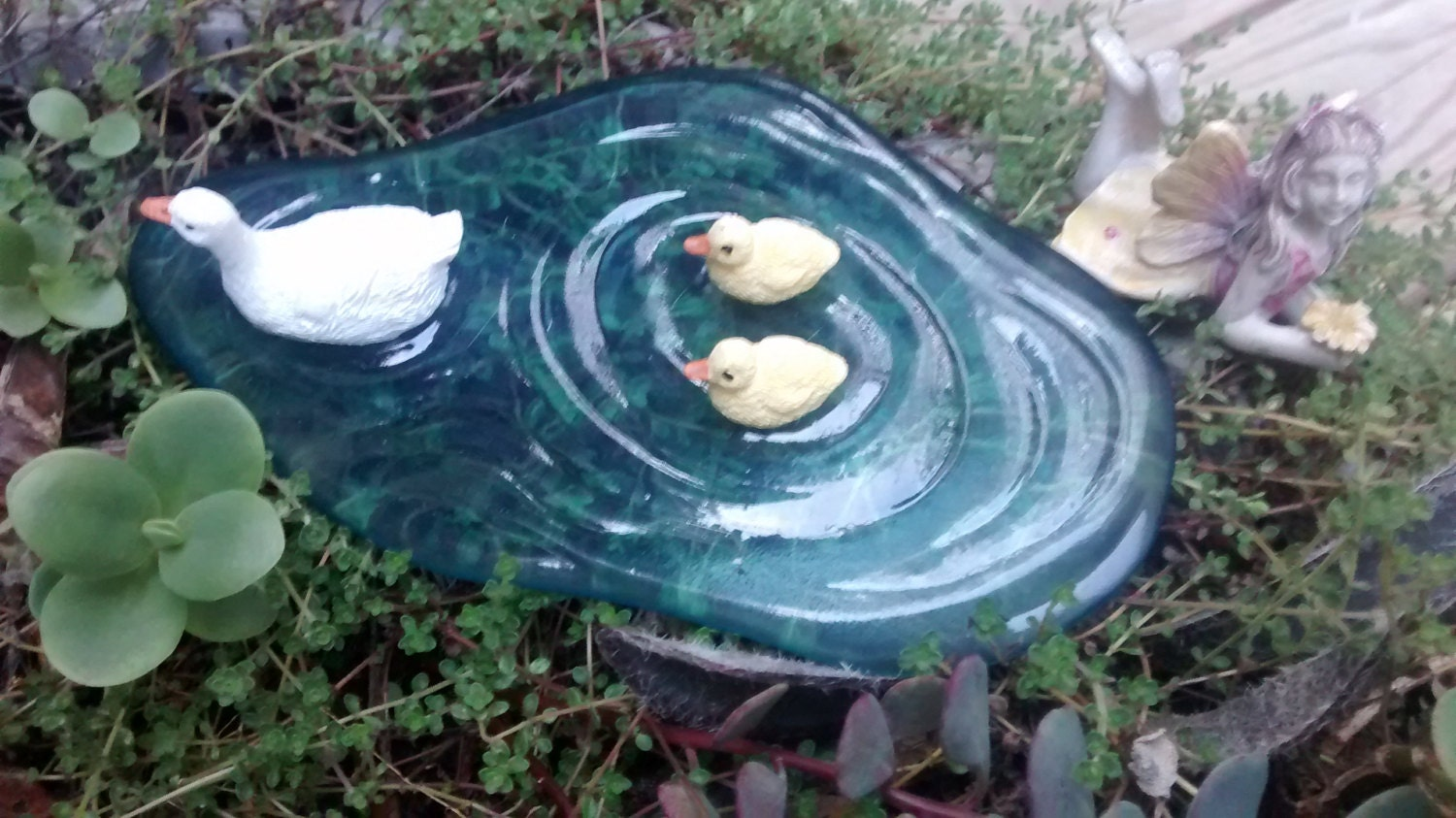 Miniature duck pond for mini fairy or zen garden for Miniature fish pond