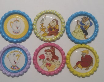 Set of 6 Disney Princess Belle Beauty and the Beast Finished Bottle Caps - Magnets - Necklaces