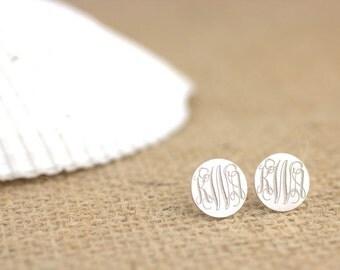 Monogram Earrings - Sterling silver monogram studs, engraved monogram, personalized initial earrings
