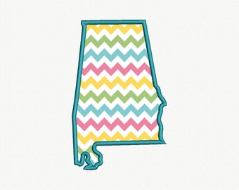 State of Alabama Applique Machine Embroidery Design - 5 Sizes