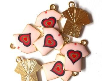Kawaii Pink and Red Heart T-Shirt Enamel Charm 4pcs