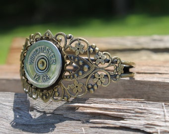 Winchester 12 gauge Polished Silver Filigree Antique BrassThick Bracelet Cuff-Bullet Jewelry-Ready to SHIP