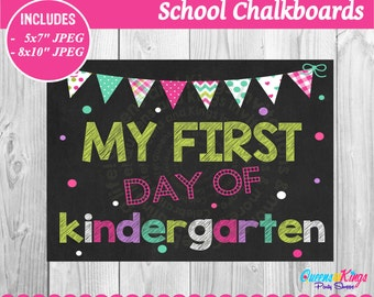 Chalkboard kinder etsy for First day of school sign template