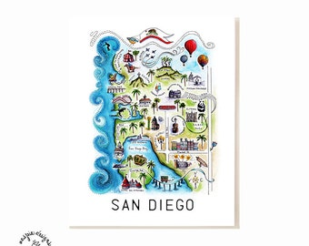 San Diego City Map Art Print - Watercolor Illustration Poster
