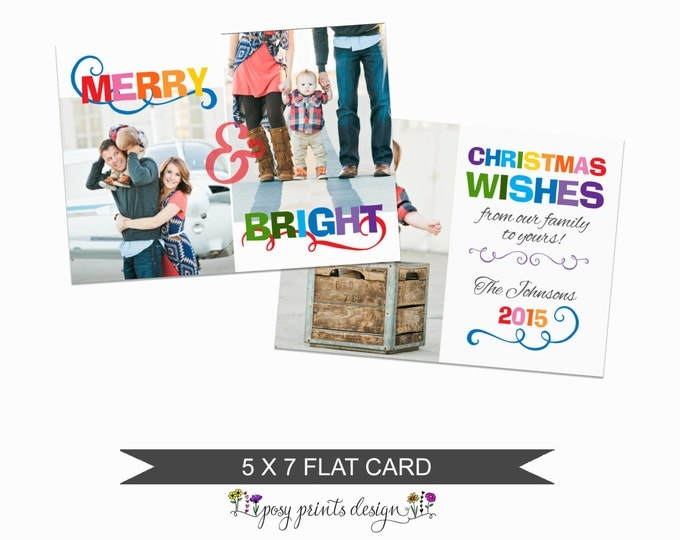 Christmas Card Template Merry & Bright  - 5x7 Photo Card - Photoshop Template - INSTANT DOWNLOAD or Printable - CC16