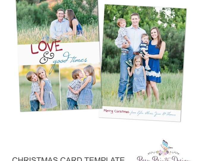 Christmas Card Template Love & Good Times - 5x7 Photo Card - Photoshop Template - INSTANT DOWNLOAD or Printable - CC22