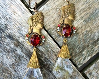 Antique 1910s Greek Revival Czech Glass Rhinestone and Crystal Drop Earrings