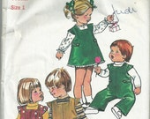 Toddlers' Overalls, Jumper and Blouse - Size 1 - Simplicity Pattern 5992 - 1973