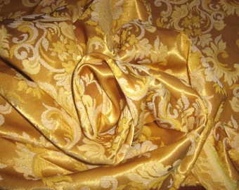 BROCADE GOLD on gold Fabric - Damask Jacquard  - Elegant - By the Yard