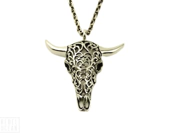Buffalo Skull Necklace Jewelry Skull Charm Pendant with Chain Gothic Steampunk - FPE008 T1