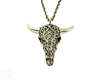 Buffalo Skull Necklace Jewelry Skull Charm Pendant with Chain Gothic Steampunk - FPE008