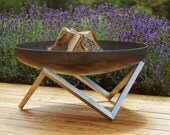 Steel Fire Pit YANARTAS (Large)  Contemporary Design Firepit  Outdoor Heater  Garden Wood Burner  Fire Bowl