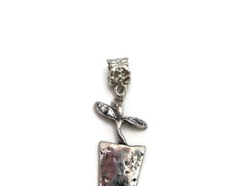 Garden Charm Silver Sprout  Charm Gardeners European Charms Large Hole Big Hole Bead Jewelry Supplies European Bead Potted Plant Charm