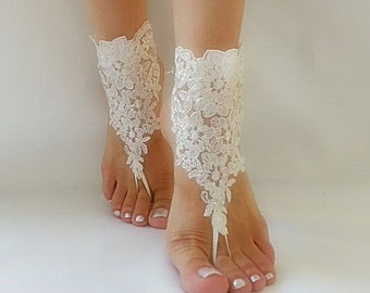 ivory Beach wedding barefoot sandals, Ivory Barefoot Sandals, Sexy, Yoga, Anklet , Bellydance, Steampunk, Beach Pool