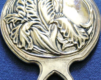 PEWTER  HAND MIRROR. Lovely vintage mirror in the Art Nouveau style.
