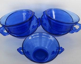 """Cobalt Blue """"Moderntone"""" Cream Soup Bowls by Hazel-Atlas.  Mint Vintage Condition."""