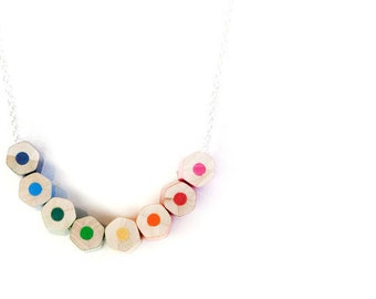 lupidupi colored pencil necklace, handmade from real colored pencils on a sterling silver chain, beautiful rainbow colors