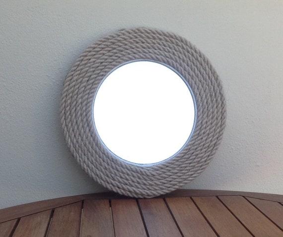 round mirror rope mirror nautical mirror by hippiefishbeachart. Black Bedroom Furniture Sets. Home Design Ideas