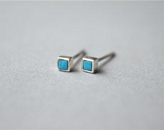 Mini kallaite cube stud earrings, 925 sterling silver stud earrings (D248)
