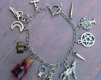 Vampire Diaries Bracelet - Fandom Bracelet - cosplay - stefan - damon - silver charms - bracelets - originals - jewelry - jewellery