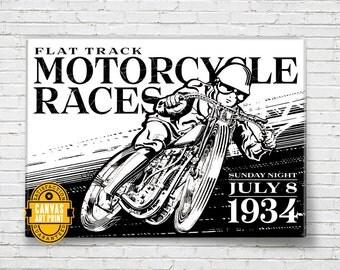 Motorcycle - Vintage Racing - Canvas Art Print, Motorcycle Gift, Man Cave Art, Motorcycle Art, Garage Decor, Motorcycle Decor, Biker gift